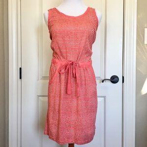 LOFT Coral Striped Cotton Dress Size M